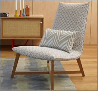 upholsted seventies style wooden framed chair