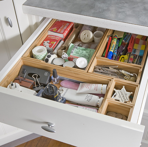 drawer dividers for all of those odds and ends things that might be useful one day an organised place to stash them means you can put your hands on them