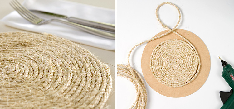 Rope table mats table create for Table mats design your own